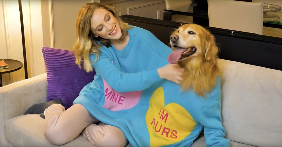 Cozy up With Your Dog This Valentine's Day in a Two Person Sweater