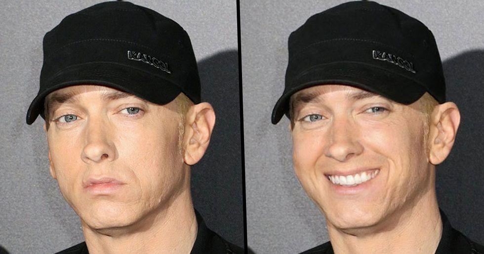 Guy Notices Eminem Never Smiles so Hilariously Photoshopped Him Smiling