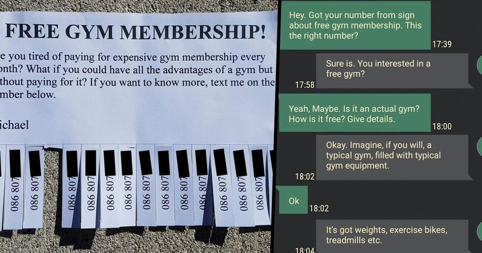 Someone Started a 'Free Gym' and the Text Exchanges Were Hilarious