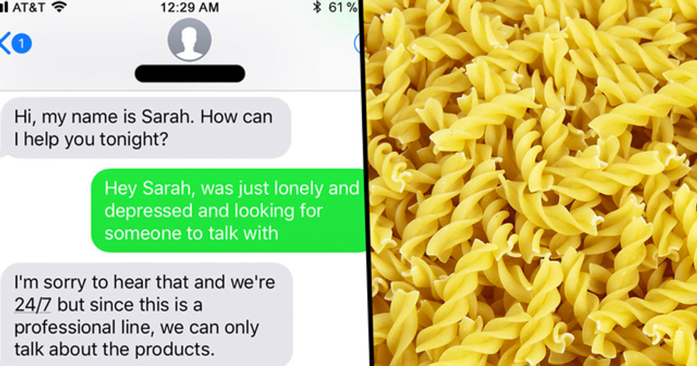 Guy Gets Incredible Response After Texting Pasta Company Instead of Depression Crisis Line