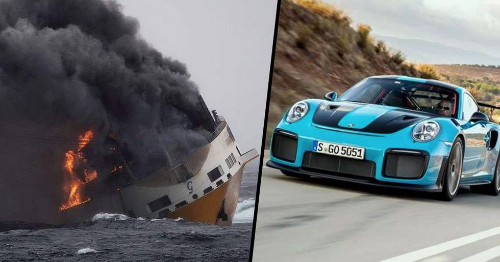 Ship Carrying 2,000 Cars, Including 37 Porsches, Catches Fire and Sinks