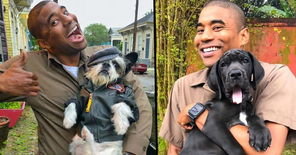 UPS Driver Takes Photos With Every Dog He Meets During Work