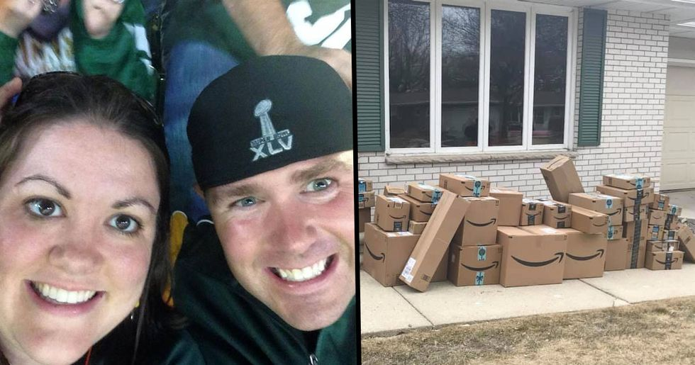 Woman Saves All of Her Old Amazon Boxes to Prank Her Husband