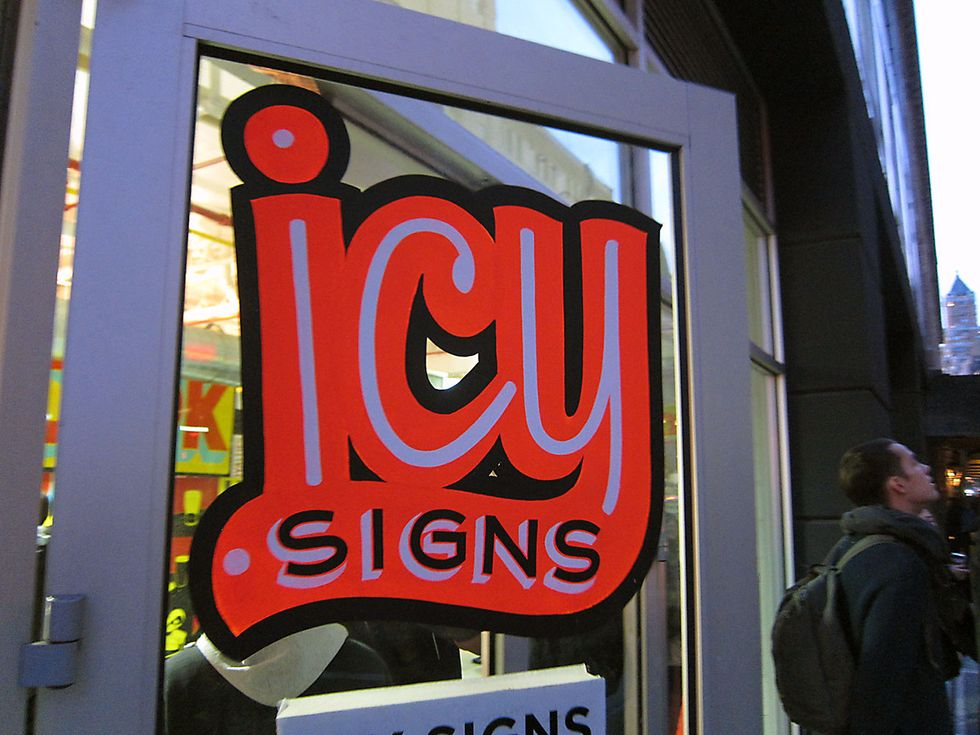 Banksy's New Sculpture + Cool Sign Painting Studio Icy Signs = Eight Items or Less
