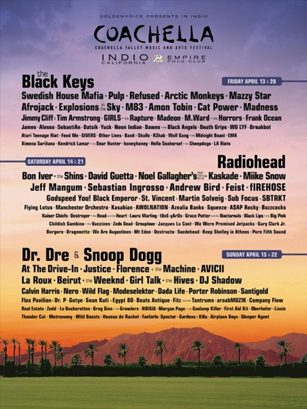 Coachella 2012 Lineup Announced -- the Black Keys, Radiohead, Dr. Dre & Snoop Dogg Headline