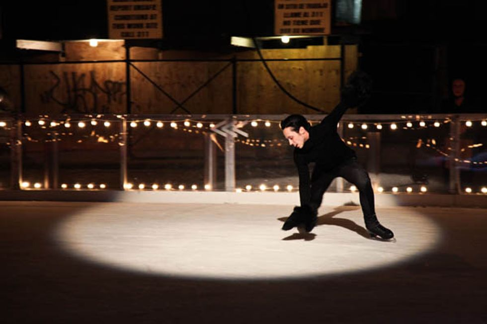 Johnny Weir Hits the Ice at the Standard With Coco Rocha