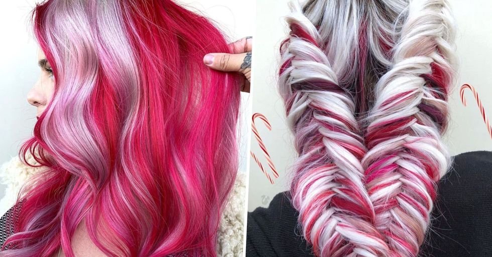 'Candy Cane' Is the Sweetest Hair Color To Try for Christmas