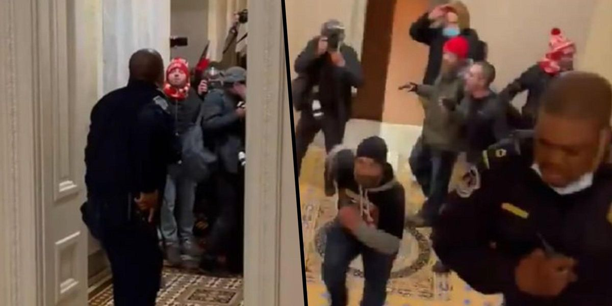Capitol Cop Who Led Rioters Away From Unlocked Senate Chamber Hailed a Hero