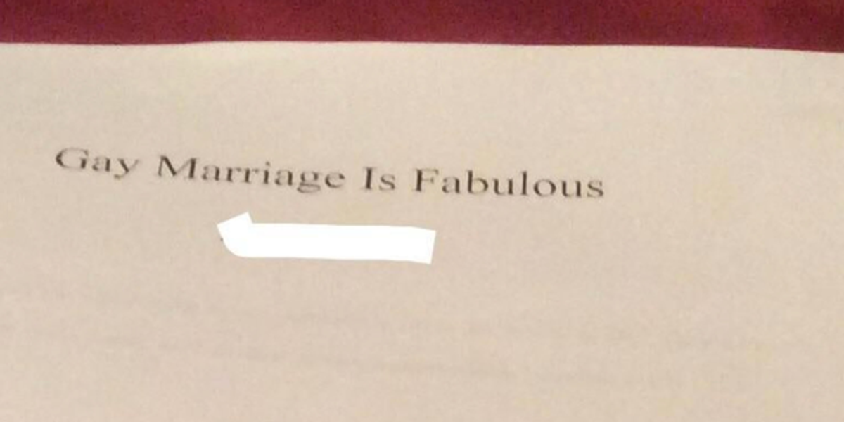 Catholic Student Told To Condemn Homosexuality Writes 127 Pages on Why 'Gay Marriage Is Fabulous'