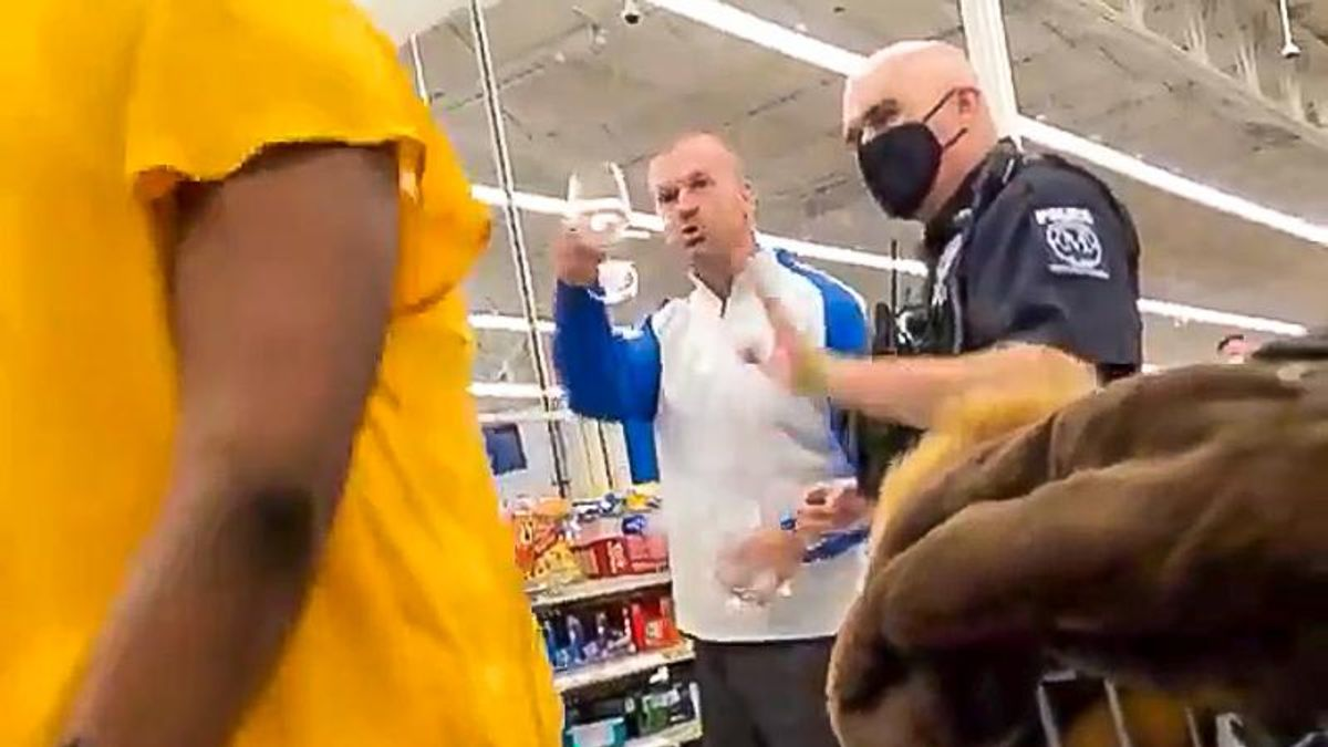 'Because I'm white!' Crazed anti-masker calls Black Walmart manager 'racist' after he's asked to leave