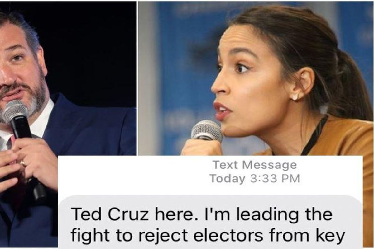 Ted Cruz tried to lie about fundraising off the Capitol riot. But AOC had the text to prove it.