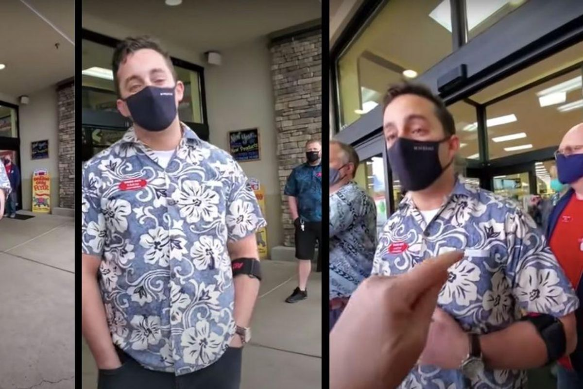 Trader Joe's manager displays superhuman patience with anti-mask protesters trying to break into store