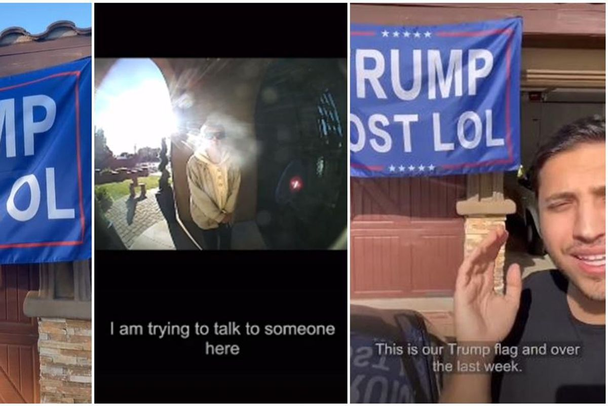 Man hangs a giant 'Trump Lost LOL' flag in a conservative neighborhood. This is what happened.