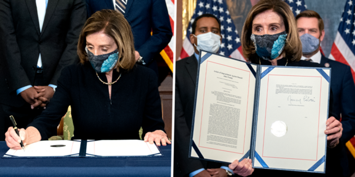 Nancy Pelosi Says She's 'Heartbroken' as She Signs Donald Trump's Second Articles of Impeachment