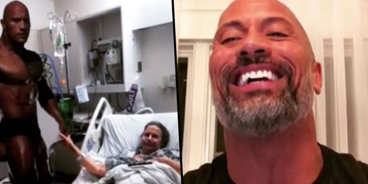 Sick Grandma Brings Cutout of the Rock To Hospital and He Sends Best Response