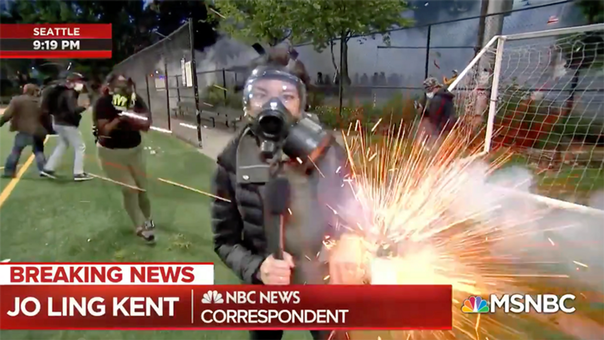 Seattle cop given 'written reprimand' for tear gassing of reporter that was broadcast live on TV