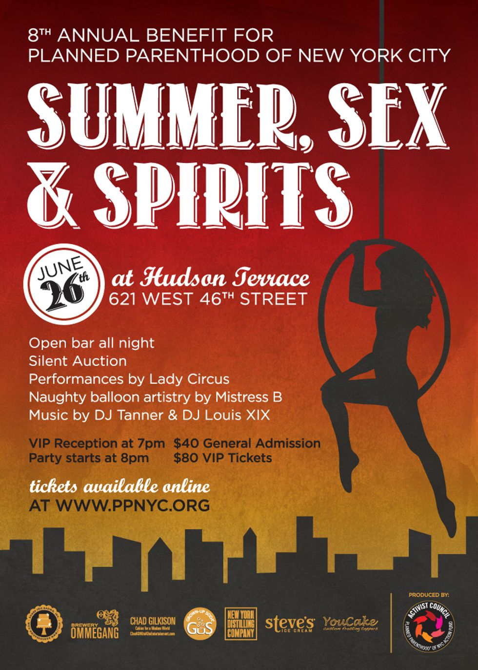 Win 2 Tickets to Planned Parenthood of NYC's Summer, Sex and Spirits Benefit