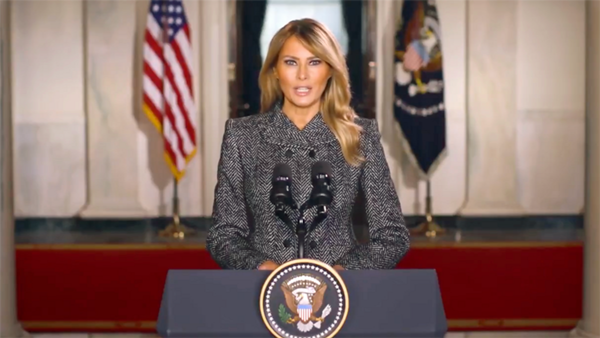Melania Trump's farewell video praised 'integrity' -- and it didn't go over well