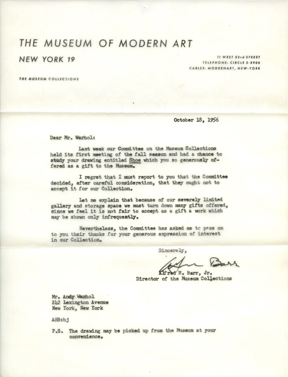 Andy Warhol's MoMA Rejection Letter