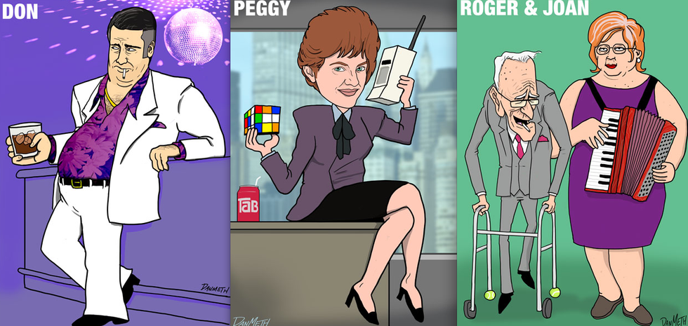 Mad Men Characters In the Future + Seattle Space Needle Became Angry Birds Slingshot = Eight Items Or Less