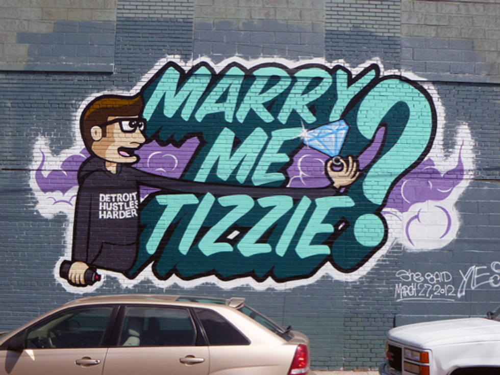 Graffiti Marriage Proposal + Bowling With Jon Hamm = Eight Items Or Less