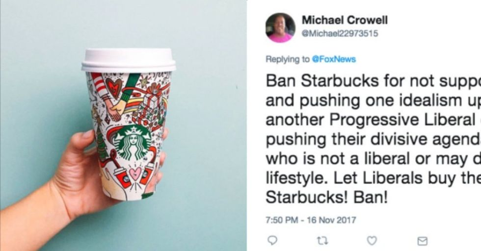 People Are Up in Arms Thinking Starbucks' Holiday Cups Are Pushing the Gay Agenda. Can You Tell Why?