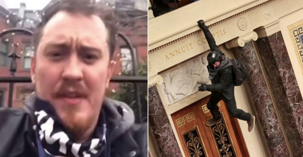 Capitol Rioter Pictured Hanging From Senate Balcony Asks for Forgiveness