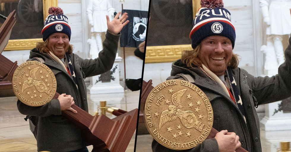 People Are Really Confused by the 'Name' of Man Who Stole Podium in Capitol Building