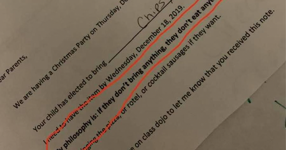 Teacher Sends Note Home Saying They Won't Let Kids Eat if They Don't Bring Food To Class