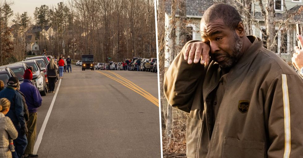 Neighbors Line up on Street To Applaud UPS Driver's Work During the Pandemic
