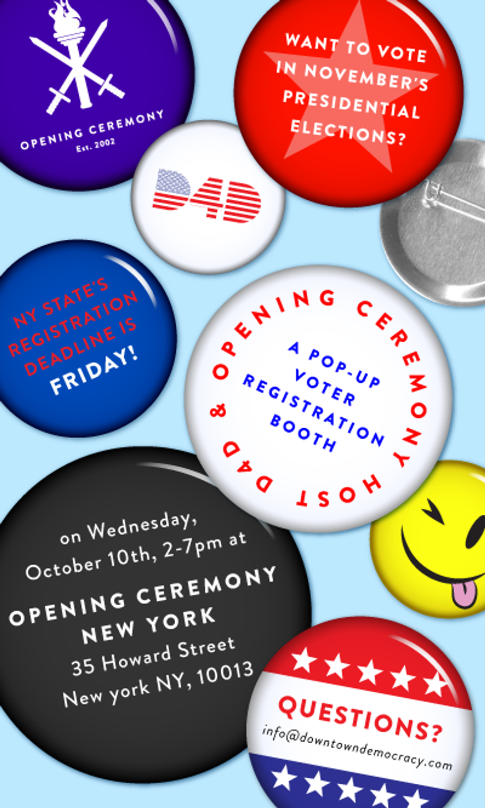 Register to Vote at Opening Ceremony + Sit Tight For Louie in Today's Eight Items or Less
