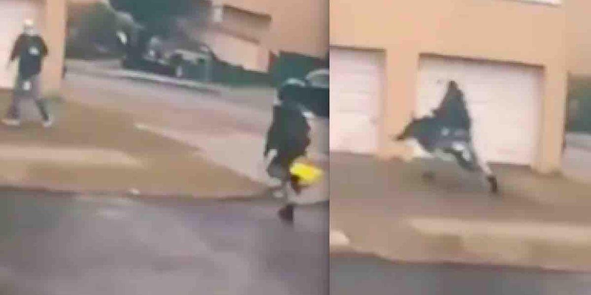 Watch:VIDEO: Thug sprints across street, slams into 84-year-old man, flattens him on driveway. Victim later dies.