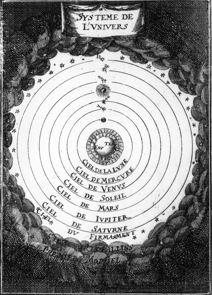 The geocentric system of the universe, as understood by the classical astronomer Ptolemy in 1683.