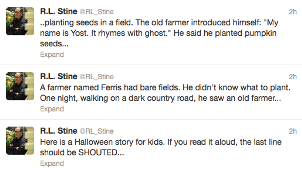 Author R.L. Stine Tweeted a New Spooky Story + Angelina Jolie's Wedding Dress = Eight Items Or Less