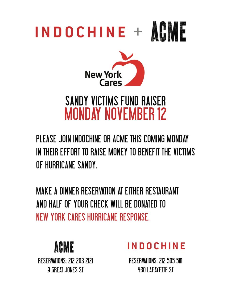 Hurricane Sandy Benefits Happening This Month In NYC