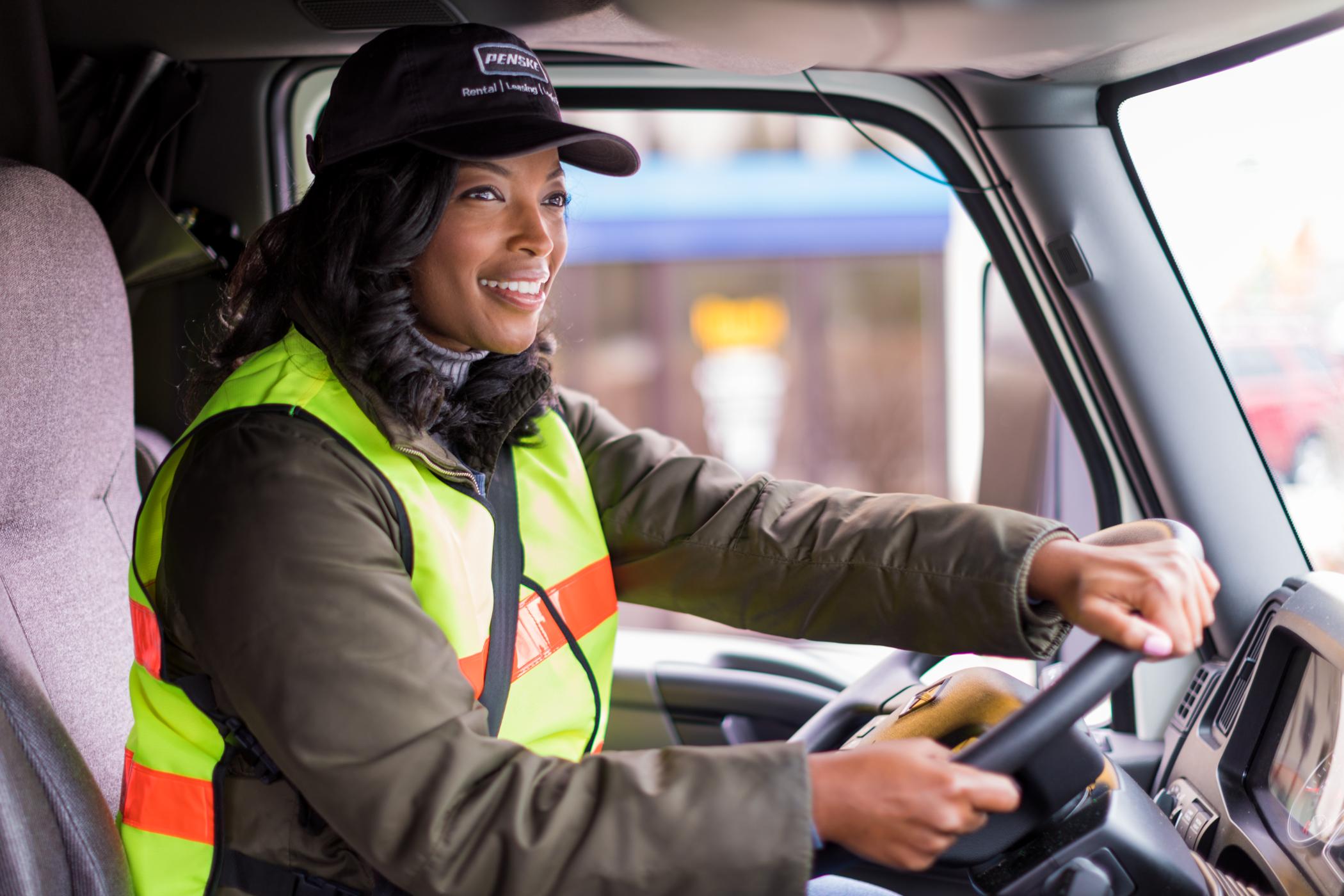 Woman driving truck