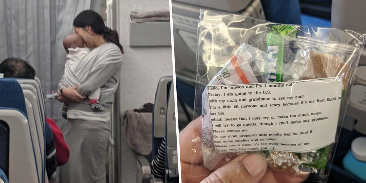 Mom Gives Out 200 Bags of Sweets and Earplugs Incase Her Baby Cries During Flight