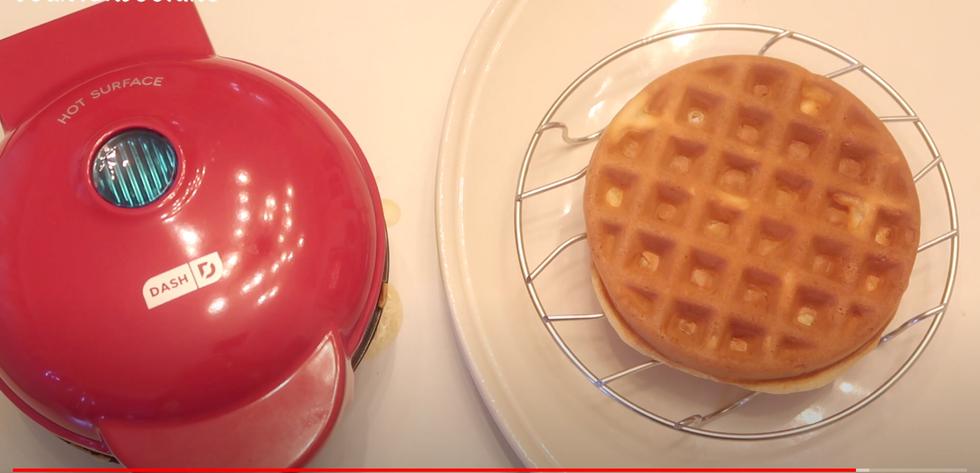 Waffle Maker and Waffle on a plate