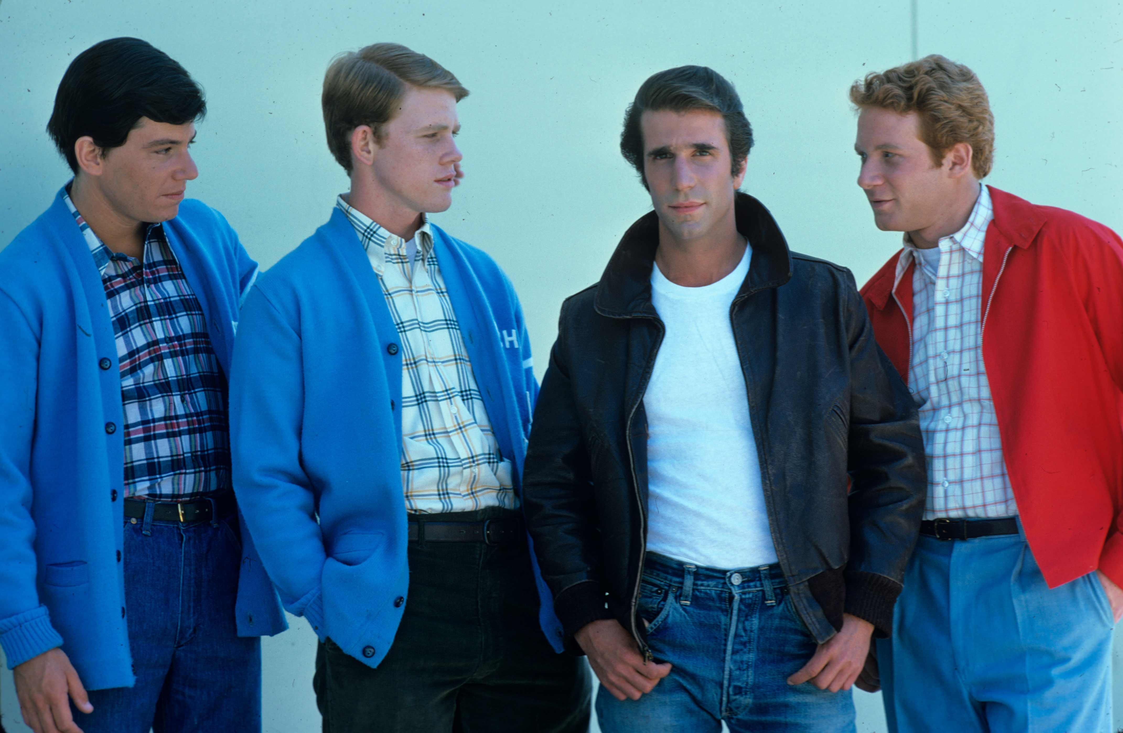 Fonzie with Potsie, Richie, and Ralph
