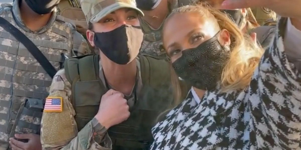 Jennifer Lopez Snaps a Selfie With the National Guard at US Capitol