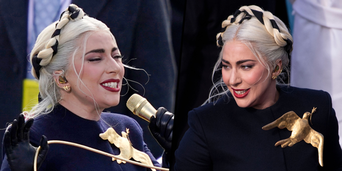 Lady Gaga Shares the Hidden Meaning Behind the Gold Brooch on Her Inauguration Outfit