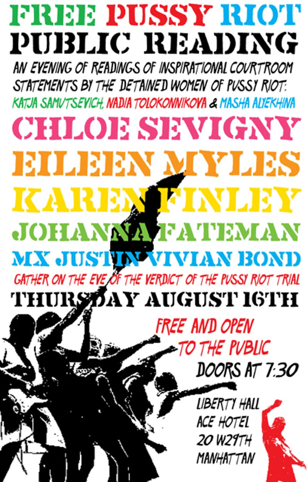 Chloe Sevigny, Mx Justin Vivian Bond + More Are Participating In a Public Reading In Support of Pussy Riot