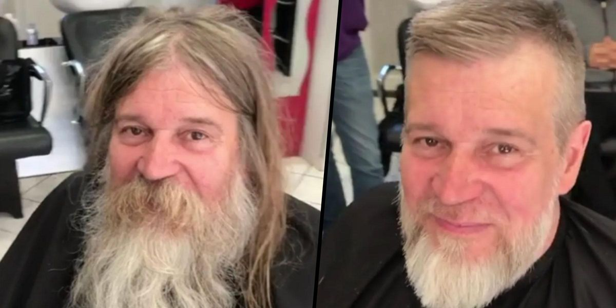 Homeless Man Looks Unrecognizable After Barber Gives Him Makeover for Free