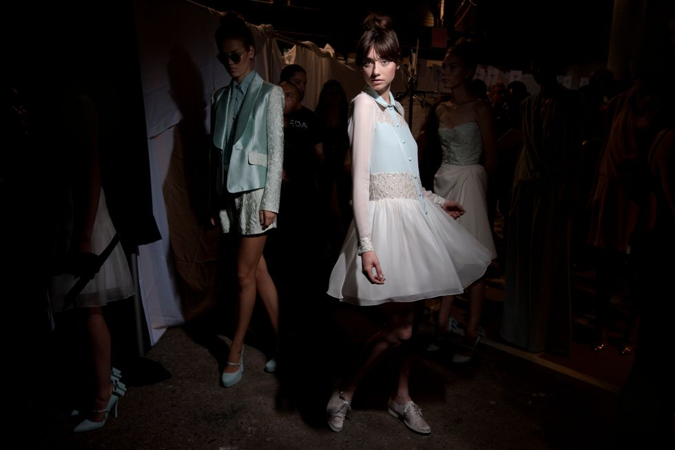 Backstage at Christian Siriano's Degas-Inspired Show