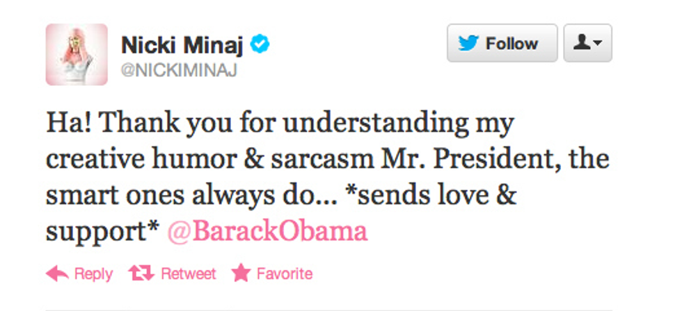 In Which We Learn Today That the President's Well-Versed On Nicki Minaj + the MC Supposedly Isn't Really Voting For Romney