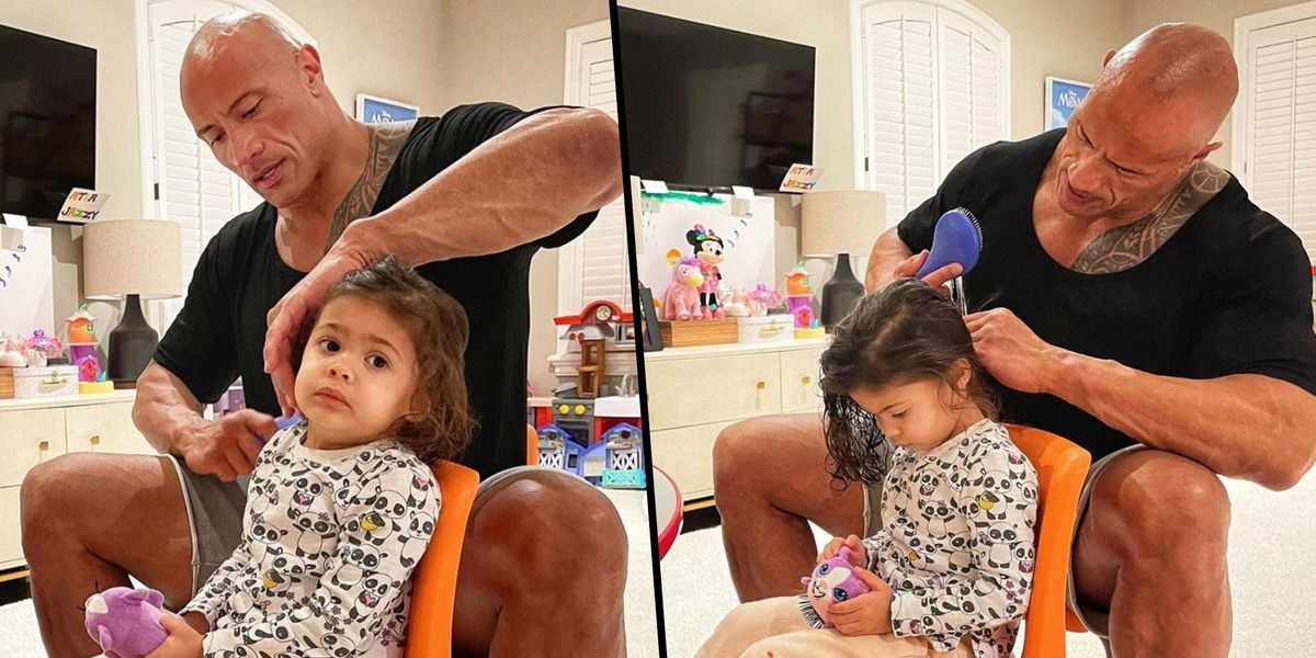 Dwayne Johnson Shows off His 'Exceptional Hair Skills' as He Brushes Daughter Tiana's Tangles
