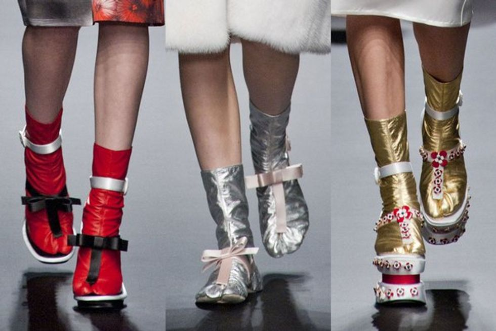 Prada's Shiny Sock Shoes + Amanda Bynes' Fashion Line in Today's Style Scraps