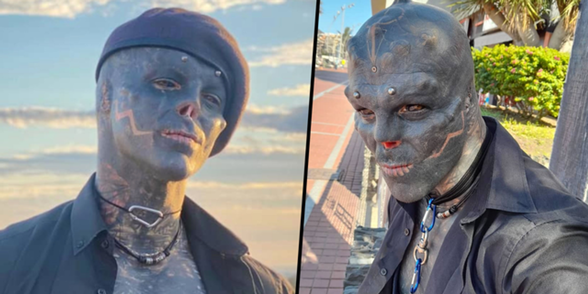 Two photos of the man who turned into the black alien