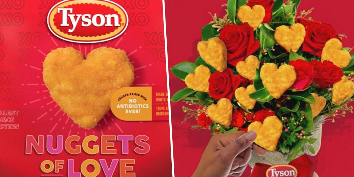 Tyson Is Releasing Heart-Shaped Chicken Nuggets for Valentine's Day and We Want a Whole Bouquet of Them