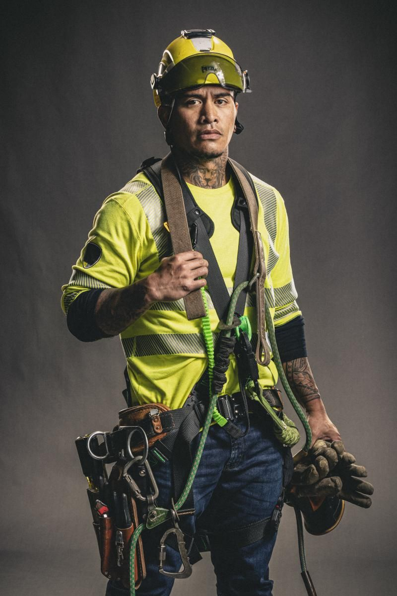 "Cyril ""Zeus"" Ontai III wearing a large tool belt"